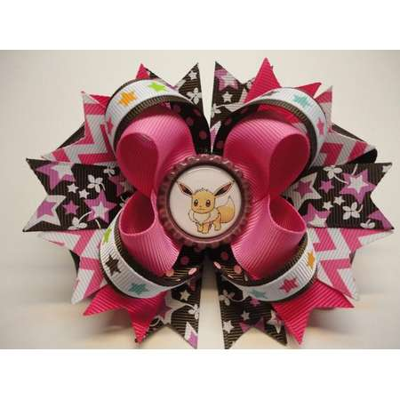 "Pokemon EEVEE Boutique Stacked Hair Bow Pink/Brown/White W 5.0"" x L 4.5"" x H 2.0"" thumb"