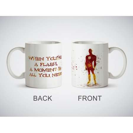 The Flash Quote Watercolor Art Print cup Coffe Tea Magic or White Mug picture superhero Justice League Lightning Man Barry Allen thumb