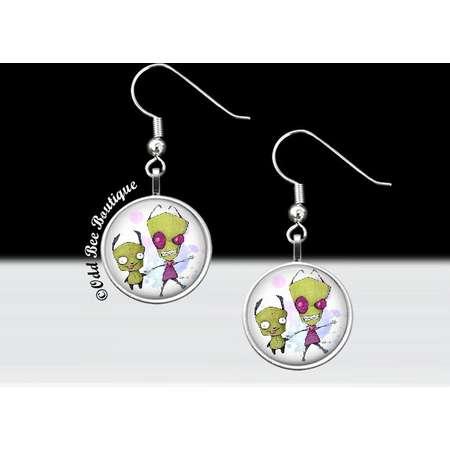 Zim and Gir Invader Zim Dangle Earrings - Animation Cartoon Accessory - Jhonen Vasquez Gift - Robot Comic Book Alien Jewelry - 16mm Silver thumb