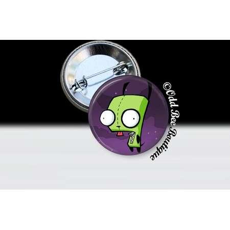 Invader Zim GIR Dog Pin - Animation Cartoon Brooch - Jhonen Vasquez Button - Robot Comic Book Alien Accessory Gift -  Glass Pin or Button thumb