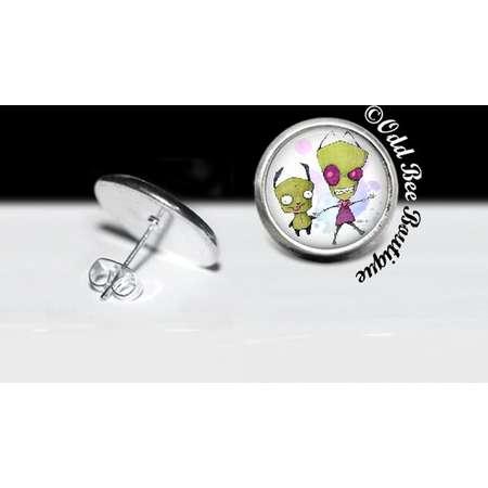 Zim and Gir Invader Zim Stud Earrings - Animation Cartoon Accessory - Jhonen Vasquez Gift - Robot Comic Book Alien Jewelry - 16mm Silver thumb