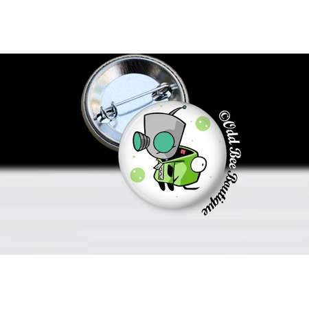 Invader Zim GIR Pin - Animation Cartoon Button - Jhonen Vasquez Accessory - Robot Comic Book Alien Gift - Silver and Glass Pin or Button thumb