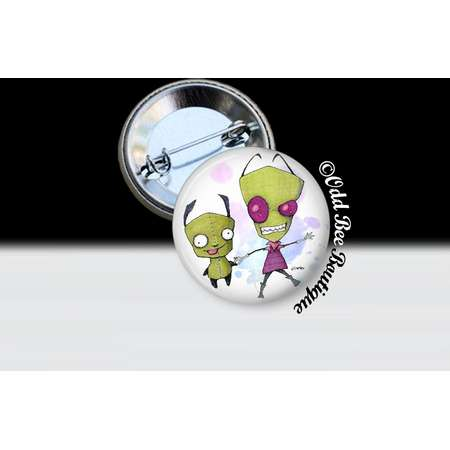 Zim and Gir Invader Zim Pin - Animation Cartoon Brooch - Jhonen Vasquez Button - Robot Comic Book Alien Accessory Gift - Glass Pin or Button thumb