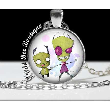 """Zim and Gir Invader Zim Necklace - Animation Cartoon Accessory - Jhonen Vasquez Gift - Robot Comic Book Alien Jewelry - 1"""" Silver and Glass thumb"""