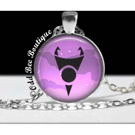 """Invader Symbol Necklace - Animation Cartoon Jewelry - Jhonen Vasquez - Robot Comic Book Alien Jewelry - 1"""" Silver and Glass Pendant thumb"""