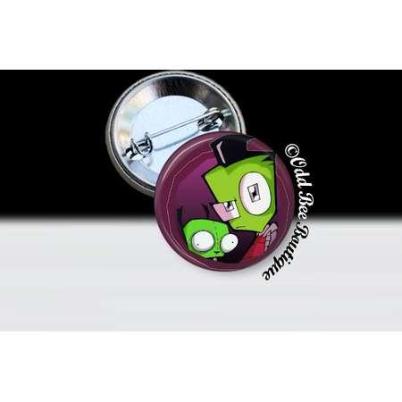 Zim and Gir Invader Zim Pin - Animation Cartoon Button - Jhonen Vasquez Accessory - Robot Comic Book Alien Gift - Glass Pin or Button thumb