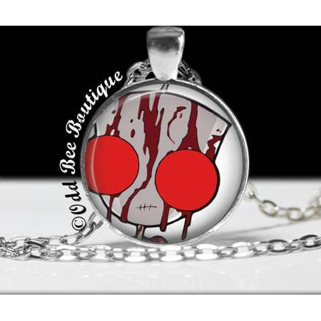 """Invader Zim Bloody GIR Necklace - Animation Cartoon Jewelry - Jhonen Vasquez - Robot Comic Book Alien Jewelry - 1"""" Silver and Glass Pendant thumb"""