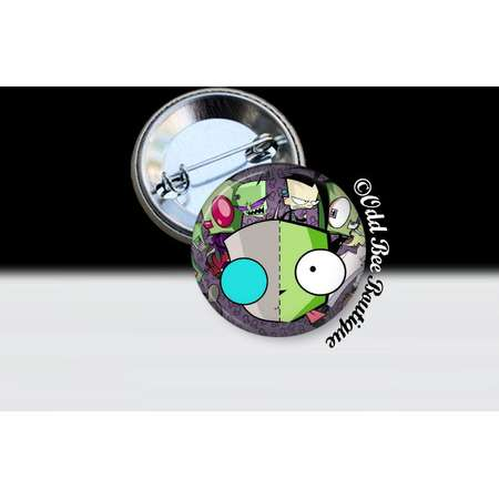Invader Zim Characters Pin - Animation Cartoon Button - Jhonen Vasquez Accessory - Robot Comic Book Alien Gift - Glass Pin or Button thumb