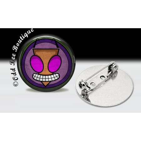 """Invader Zim Pin  - Animation Cartoon Brooch - Jhonen Vasquez Button - Robot Comic Book Alien Symbol Accessory Gift - 1"""" Silver and Glass Pin thumb"""