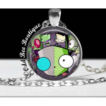 """Invader Zim Characters Necklace - Animation Cartoon Jewelry - Jhonen Vasquez - Robot Comic Book Alien Jewelry - 1"""" Silver and Glass Pendant thumb"""