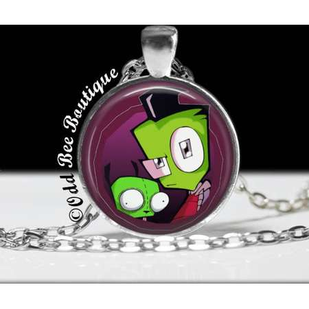 """Zim and Gir Invader Zim Necklace - Animation Cartoon Jewelry - Jhonen Vasquez - Robot Comic Book Alien Jewelry - 1"""" Silver and Glass Pendant thumb"""