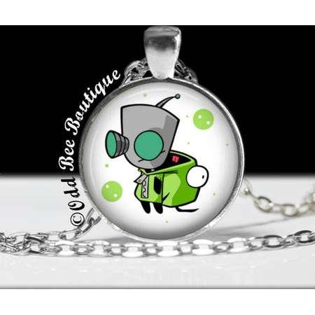 "Invader Zim GIR Necklace-Animation Cartoon Nickelodeon Jhonen Vasquez Robot Comic Book Alien Jewelry-1"" Silver and Glass Pendant thumb"