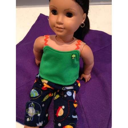 ALIEN INVASION PAJAMAS-Fits 18in Doll like Ag Doll, Galaxy, 2 Piece Sleepwear, T-Shirt, Pants, Planets, Luciana, Astronaut, Stars, Rocket thumb
