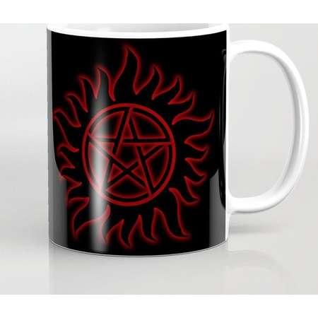 Supernatural Anti Possession Sigil Mug and Travel Mug, 3 Sizes/Styles Available! - Red Glow thumb