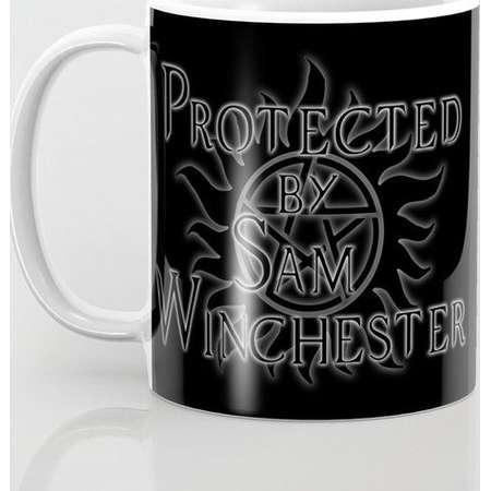 Supernatural Mug and Travel Mug, 3 Sizes/Styles Available! - Protected by Sam Winchester thumb