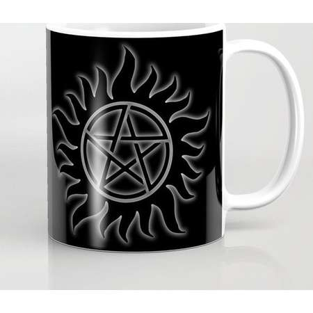Supernatural Anti Possession Sigil Mug and Travel Mug, 3 Sizes/Styles Available! - White Glow thumb