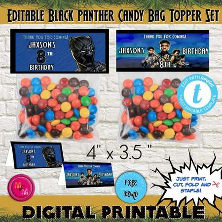 Editable Black Panther Candy Bag Topper Printable, Black Panther Birthday Candy Bag, Black Panther Treat Bag, Black Panther Favor Bag Topper thumb
