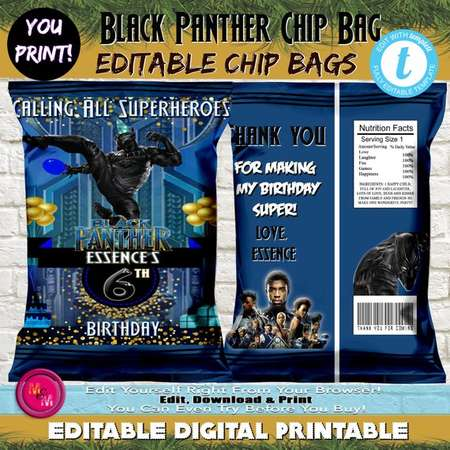 Editable Black Panther Birthday Chip Favor Bag Printable, Personalized Black Panther favor bag, Edit with Templett, Birthday Candy Bags thumb