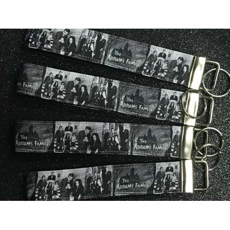 The Adams Family Keychain - Free Charms - The Adams Family Key Fob,  Wristlet Keychain, Grosgrain Ribbon thumb