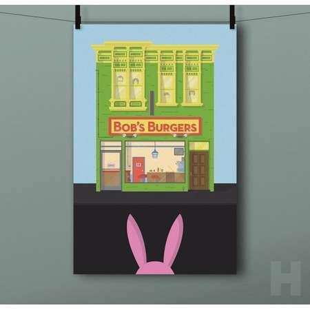 Bob's Burgers Building Print - Belcher, Family, Restaurant, Bob, Lina, Tina, Gene, Louise, Illustration, Animated Sitcom, TV, Poster thumb
