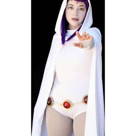 White Raven costume - Full Set  Raven Teen Titans Cosplay - custom, cloak, bodysuit, cosplay, adult costume, leotard, orb belt, orb pins thumb