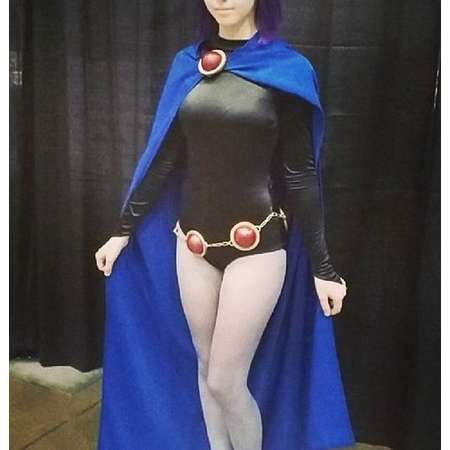 Raven Teen Titans Cloak and Accessories - custom costume, blue cloak, bodysuit, cosplay, adult costume, leotard, orb belt, orb pins, anime thumb