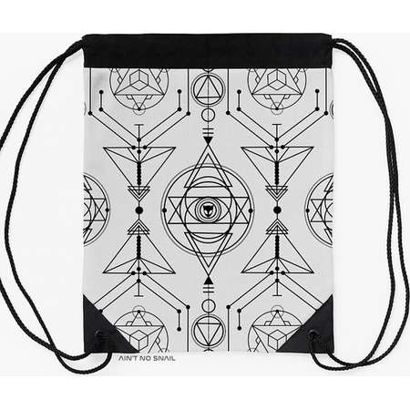 Sacred Geometry Gymbag, Drawstring backpack with Alien Cat print for psytrance festivals and partys thumb