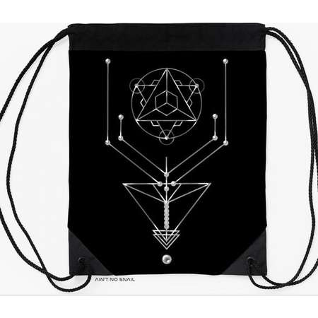 Sacred Geometry Gymbag, Drawstring backpack with Alien satellite print for psytrance festivals and partys thumb