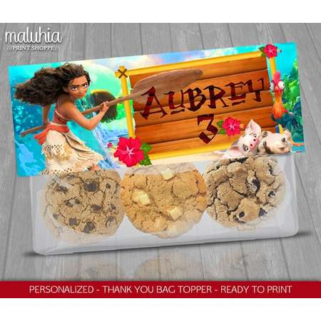 Moana Custom Favor Bag - Moana Topper Label - Disney Moana Birthday decoration - Moana hawaiian Party thumb