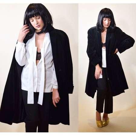 1980s authentic vintage black velvet oversized swing coat / Halloween Costume / Mia Wallace / Pulp Fiction/ women' s size Large thumb