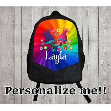Personalized Trolls Back pack/trolls  backpack/boys backpack/personalized boys backpack/ black backpack/B104 thumb