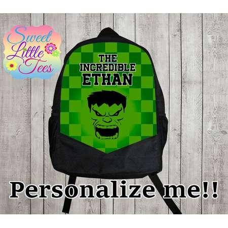 Personalized The Incredible Hulk backpack/blaze shirt backpack/boys backpack/personalized boys backpack/ black backpack/B110 thumb