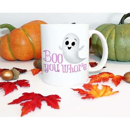 Funny Mug 11oz or 15oz - Boo You Whore - Mean Girls Movie Lover Quote Regina George Glen Coco The Plastics Halloween Pun Ghost Coffee Mugs thumb