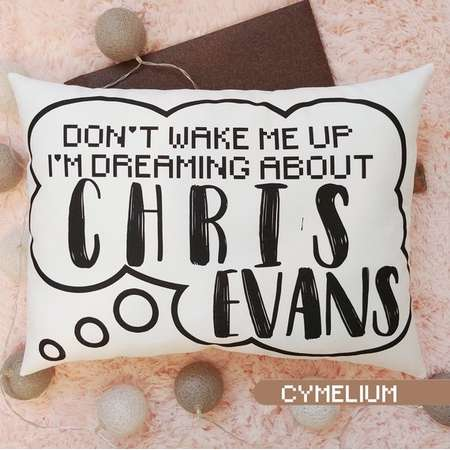 16 color options - Don't wake me up. I'm dreaming about Chris Evans - decorative pillow with filling - Captain America, The Gifted, Marvel thumb