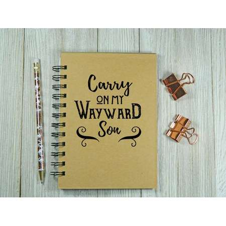 Supernatural inspired Carry On My Wayward Son notebook/journal thumb