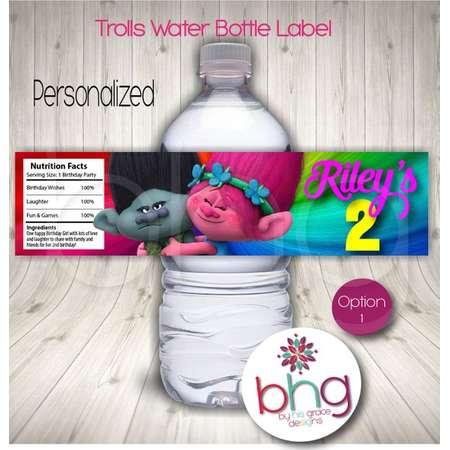 PERSONALIZED - Trolls Water Bottle Label - Trolls Birthday Water Bottle Label - 3 Options Available - Poppy - Branch - Trolls Party Favor thumb