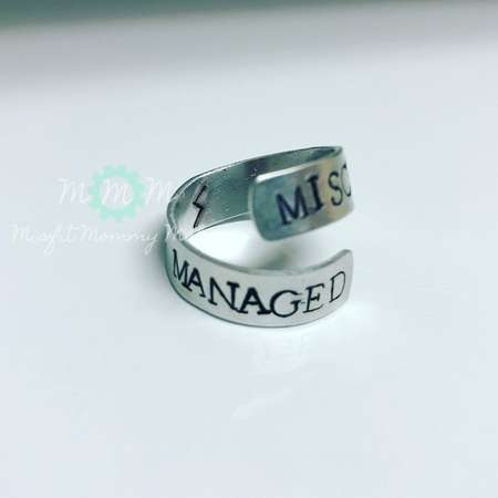 Mischief Managed, hand stamped ring, harry potter ring, adjustable ring, spiral wrapped ring, wrap ring, hand stamped, Harry Potter thumb