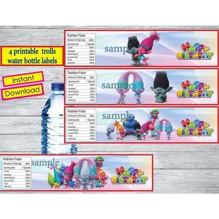 Instant DL,  Trolls water bottle labels- Trolls party, Trolls  Tags, Trolls  birthday,Printable Tags thumb