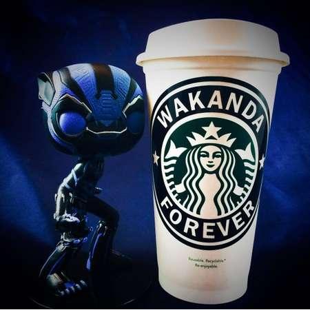 "Marvel Comics Black Panther inspired ""Wakanda Forever"" Starbucks Travel Cup thumb"