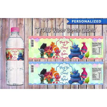Trolls Water Bottle Labels (Printable Digital File) thumb