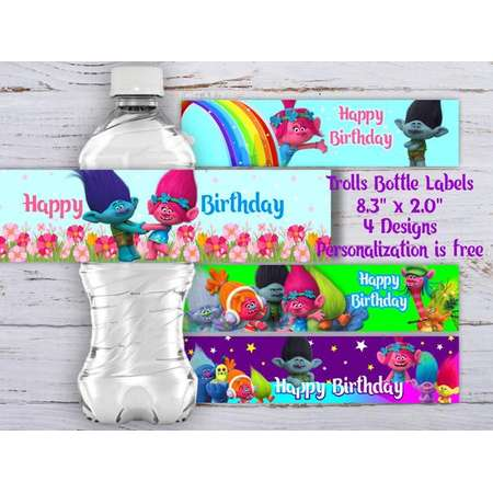 Trolls Water Bottle Label, Trolls Bottle Labels, Trolls Water Bottle Labels, Trolls Birthday Party, Trolls Party Supplies, Trolls Labels thumb