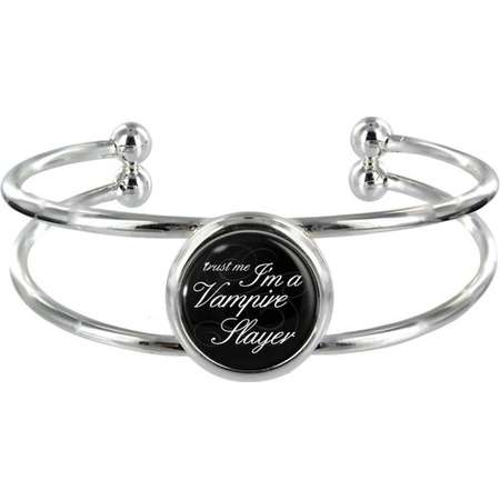Trust Me I'm A Vampire Slayer On Silver Plated Bangle in Organza Gift Bag thumb