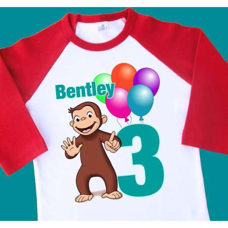 Curious George Birthday Shirt Personalized Raglan With Name Age 1st 2nd 3rd 4th 6th 7th 8th 9th Tee T Tshirt 35263