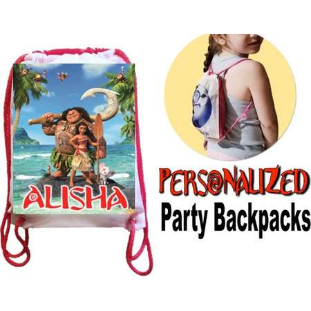 "MOANA Party, 13 Personalized Party Backpacks, Moana Drawstring Backpack, Moana Favor Bags,8""x10.5""inches FREE PERSONALIZATION thumb"