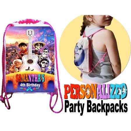"""COCO Party, 12 Personalized Party Backpacks, CoCo Drawstring Backpack, Coco Favor Bags,8""""x11""""inches thumb"""
