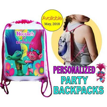 "Trolls Party, 10 Personalized Party Backpacks, Trolls Themed Drawstring Backpack, Trolls Favor Bags,8""x10.5""inches FREE PERSONALIZATION thumb"