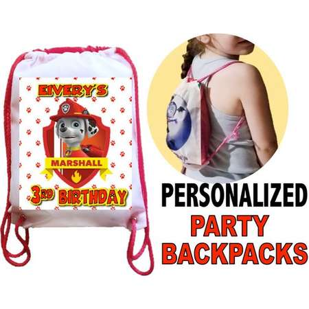 "Paw Patrol Party, 10 Personalized Party Backpacks, Paw Patrol Party Drawstring Backpack, Paw Patrol Favor Bags,8""x11""inchesw thumb"