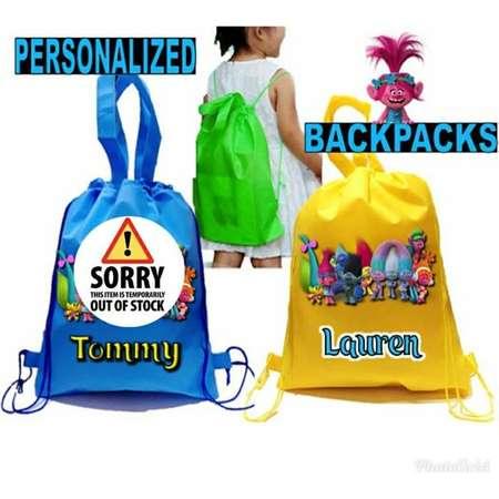 "30 Trolls Party, Personalized Trolls Backpack, Trolls, Trolls Favor Bags, Trolls Backpack 12""X15"" inches thumb"