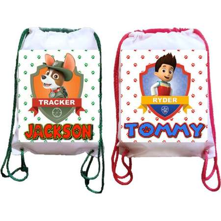 "Paw Patrol Party, 12 Personalized Party Backpacks, Paw Patrol Party Drawstring Backpack, Paw Patrol Favor Bags,8""x10.5""inches thumb"