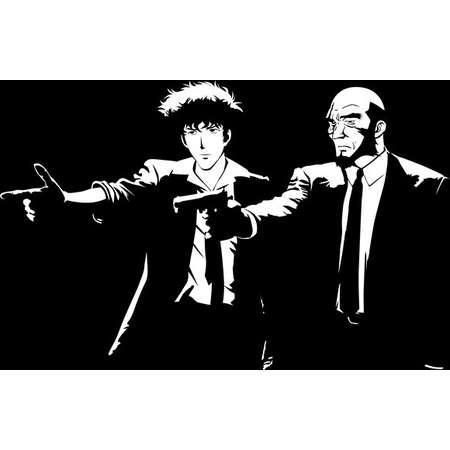 Pulp Cowboy - Spike Spiegel Mashup Pulp Fiction  Men's Unisex T-Shirt - Anime Pop Parody Clothing thumb